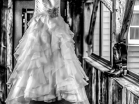 Creative photo of wedding dress before the ceremony