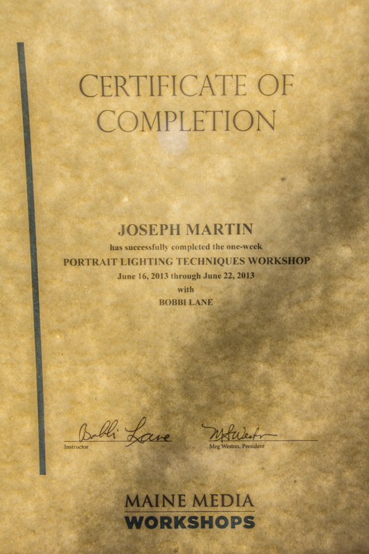 Image of certificate from a portrait lighting workshop