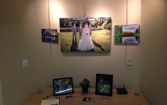 Wedding portrait at art showing