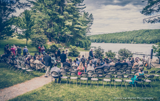 Wedding ceremony at a Southern New Hampshire Lake Side venue
