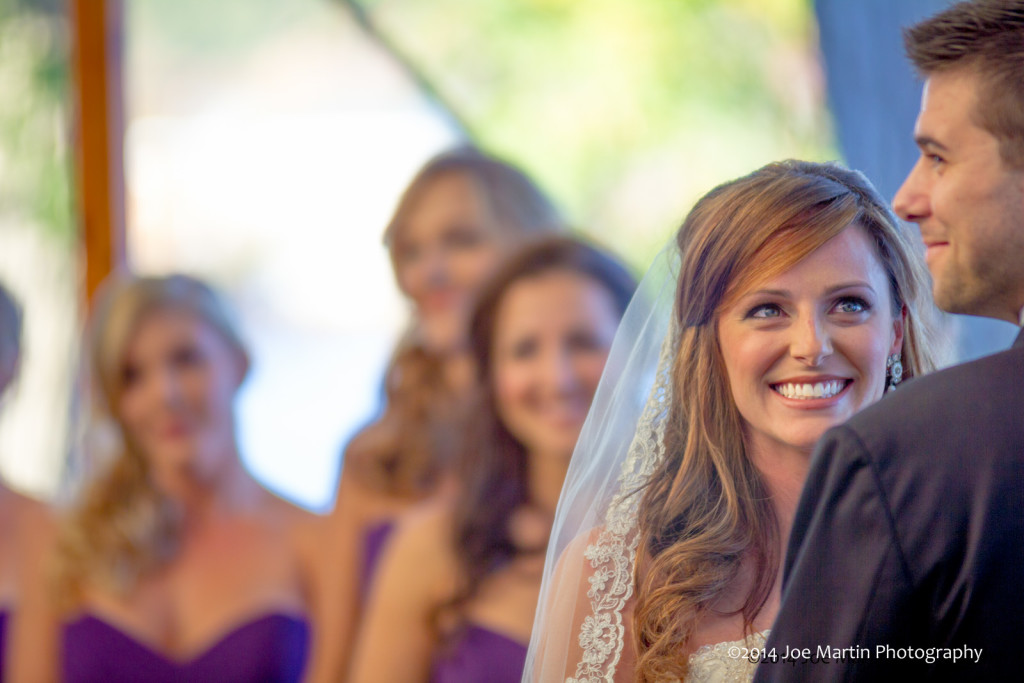 Photo of bride and groom laughing at the wedding