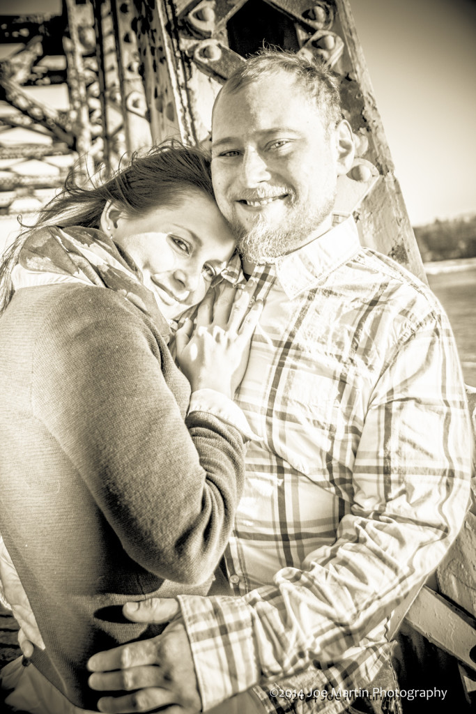 B&W Image of a engaged couple
