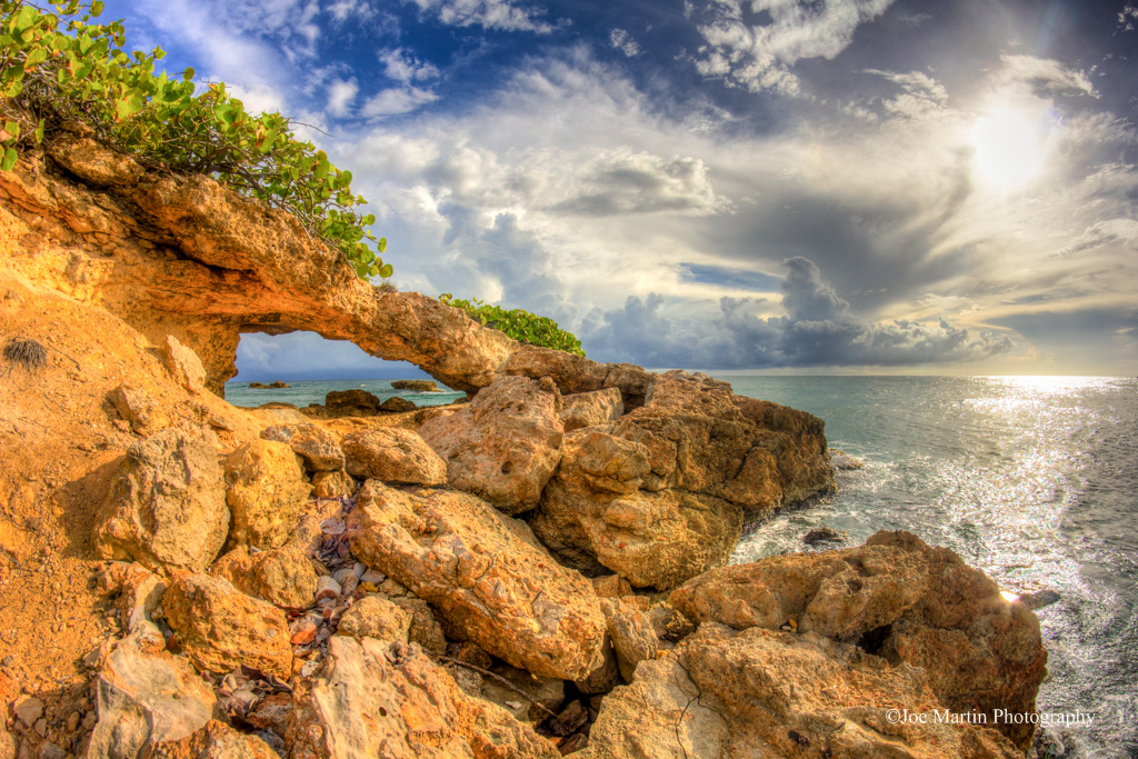 Natural arch in stone in Puerto Rico
