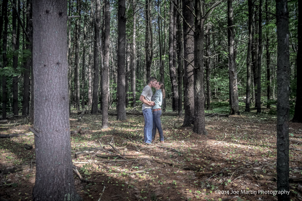 new hampshire engagement photo in the woods
