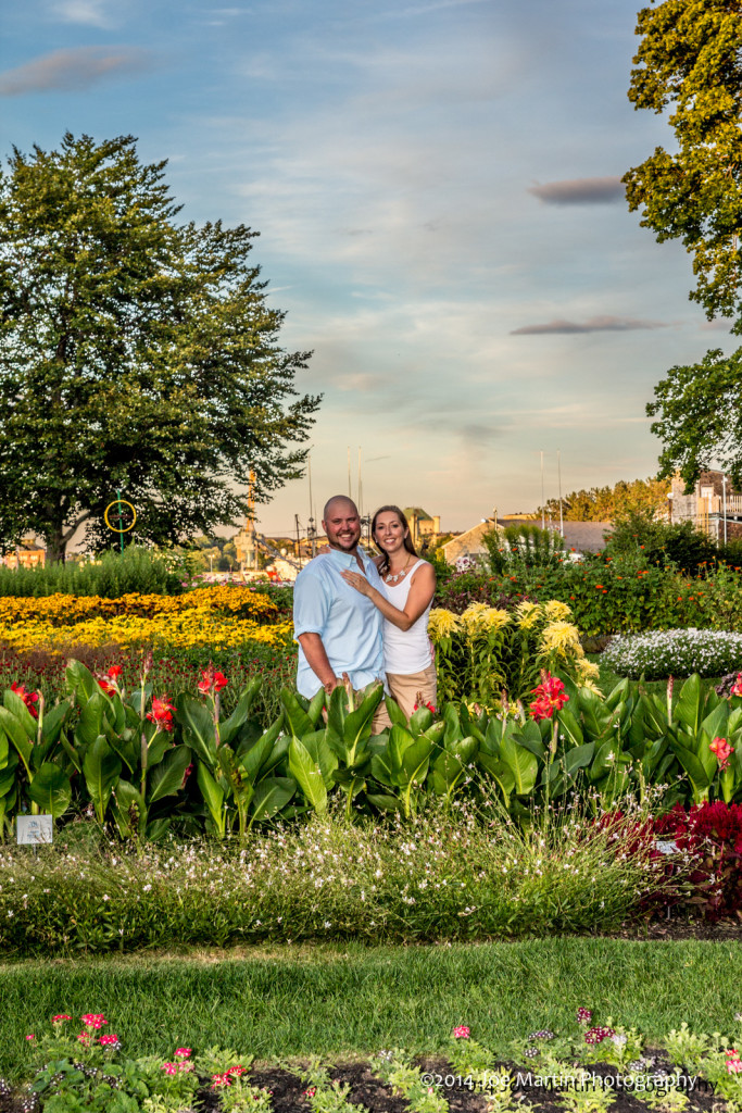 Couple posing at a garden in Portsmouth nh