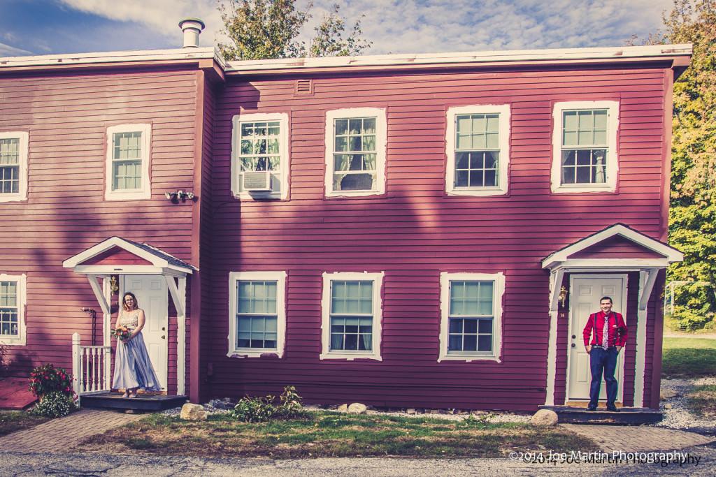 Moody wedding portrait. Near a old building