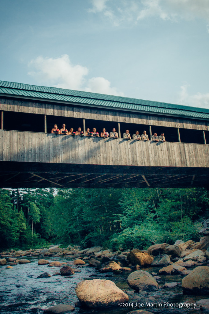 The wedding party posed on the Jackson Covered Bridge for photos.