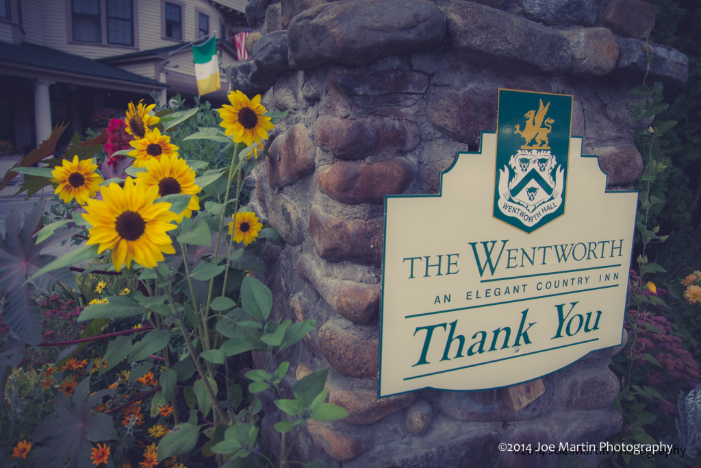 The entry sign for The Wentworth. A New Hampshire wedding venue in Jackson, N.H