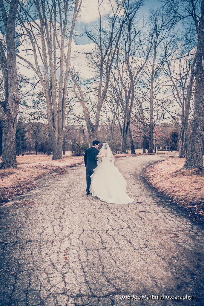 Walking in the park after their wedding.