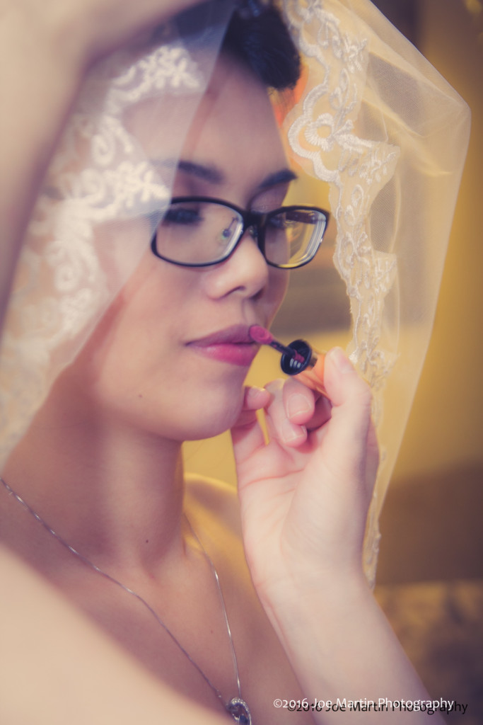 The beautiful bride gets the final touch