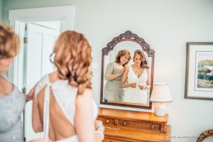 reflection photo with bride and her mom
