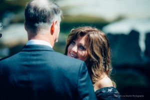 close up of a bride looking at the groom