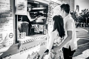 couple together at the icecream truck-photo shoot