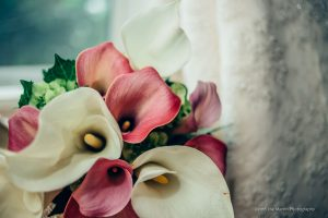 flowers and wedding dress together