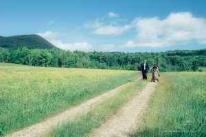 wedding couple walks on dirt road in this photo