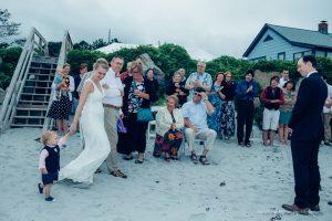 the bride walks to her wedding