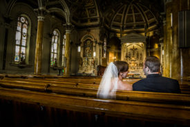 The couple alone in the church