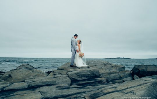 doing some bridal portraits after a wedding at Jones landing a Peaks Island wedding venue