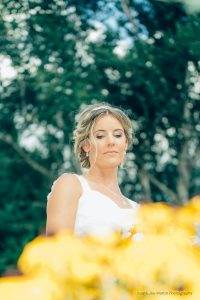 photo of the bride in a garden