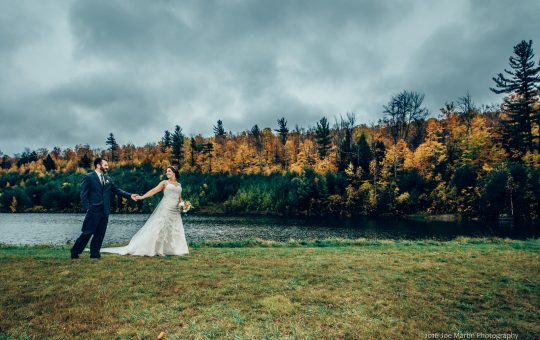 Photo of a newly married couple at The Ragged Mt Wedding venue in New Hampshire