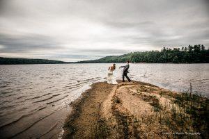 wedding couple skips stones
