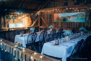 Inside the Rustic barn at the Shovel Handle Pub Wedding venue in Jackson New Hampshire -Best of.
