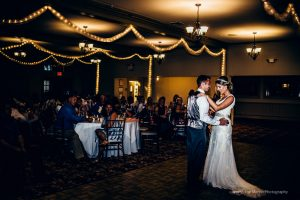 Wedding couple dancing at the Carriage House at The Eagle Mountain House wedding venue