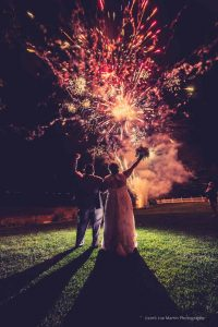 Wedding photo with fireworks at the Margate resort