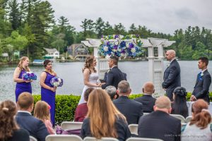 a couples get married next to Cobbetts Pond in Windham,
