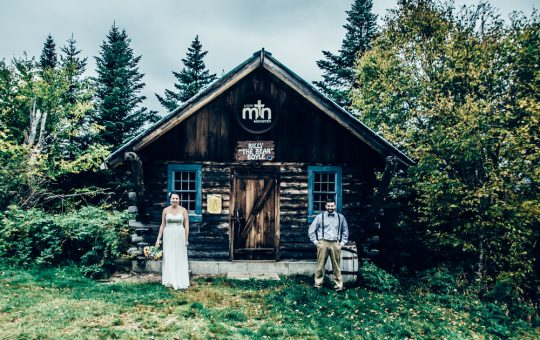 fine art bridal portrait in front of the ski shack on Loon Mt