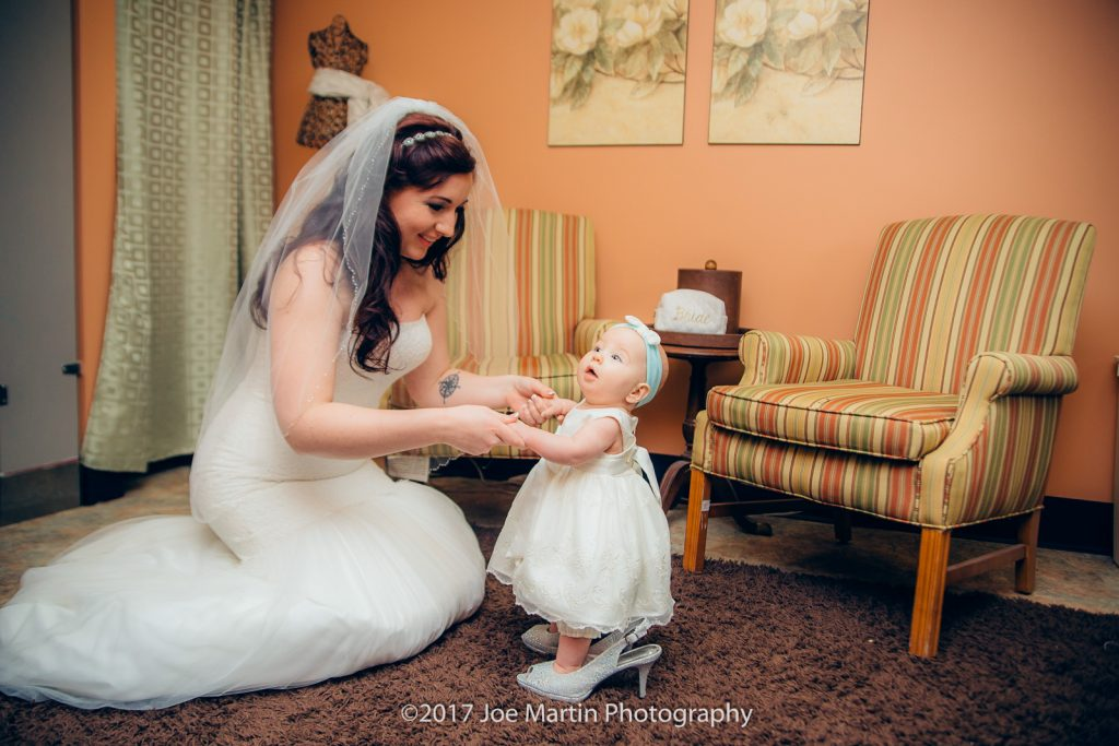 A bride playful with her niece