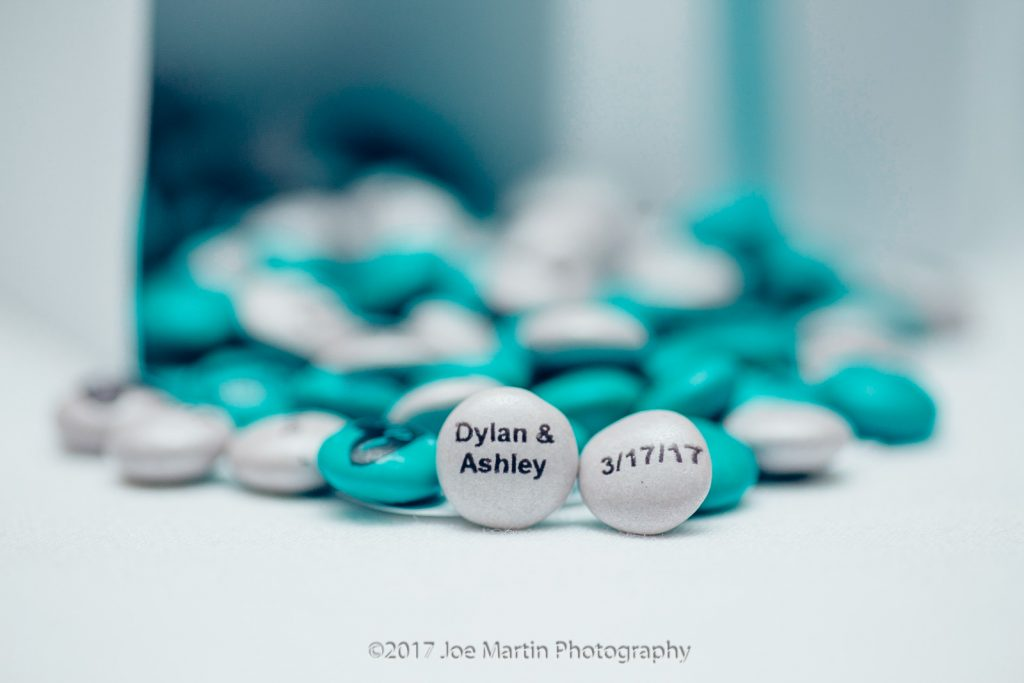 M & M's with couples name and the date of the wedding on them.