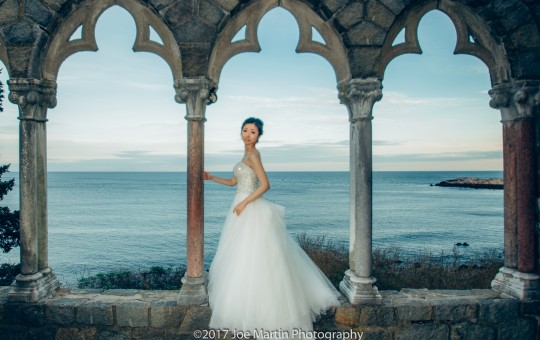 Bride poses in the Arch at The Hammond Castle Museum wedding venue